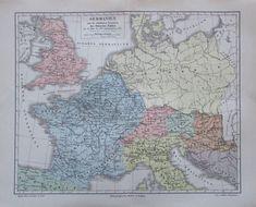1897 Germanien - alte Landkarte Karte old map
