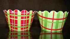 Quantity of 12 CupCake Wrappers Christmas Plaid Red by BlingForU2, $7.50