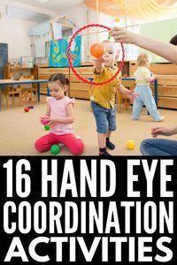 16 Hand Eye Coordination Activities for Kids Physical Activities For Toddlers, Pe Activities, Motor Skills Activities, Gross Motor Skills, Infant Activities, Toddler Gross Motor Activities, Child Development Activities, School Age Activities, Elderly Activities