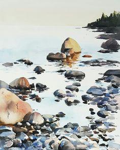 Elisabeth Biström akvarell. #watercolor #watercolour #art Watercolor Landscape Paintings, Watercolour Art, Watercolors, Bird, Rocks, Peace, Animals, Outdoor, Instagram