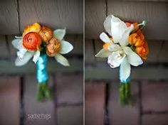 boutonnieres minus the white flowers and burlap or jute instead of blue ribbon