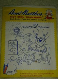 3808 Aunt Martha's Hot Iron Transfers VALENTINE DESIGNS Embroidery Pattern UC