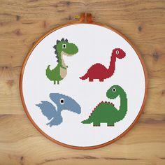 Cute Dinosaurs nursery dinosaurcross stitch pattern