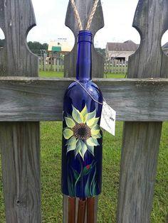 Recycled Wine Bottle Wind Chime  Yellow por JesnJerArtDesign
