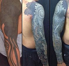 Now the harder one: how do you hide a full sleeve tattoo which is mostly in black? It may seem impossible but merely adding designs and a bit more of color and whites to add a 3D effect.