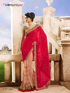 Beautifully designed Pink Georgette saree with heavy embroidery work en-crafted all over. Comes along with Contrast matching Golden Blouse.