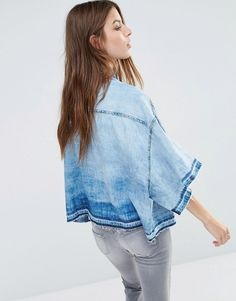 Image 2 of Diesel Oversized Denim Shirt with Released Hem Detail
