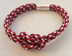 Kumihimo Infinity Knot Braided Bracelet Black Red by AbigailsPAWS, $7.99