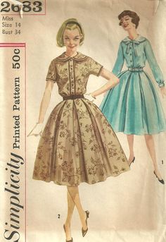 Vintage 50s Sewing Pattern Simplicity 2683 Dress Size 14