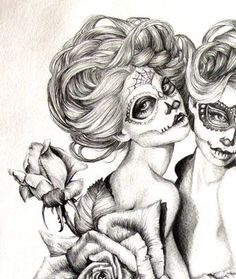 The Sugar Twins- illustration- Sugar Skull- Twins- Black and white- Print-tattoo- Halloween Inspiration Tattoos, Modelos Pin Up, Day Of The Dead Artwork, Sugar Skull Girl, Sugar Skulls, Skull Coloring Pages, Sugar Skull Tattoos, Candy Skulls, Desenho Tattoo