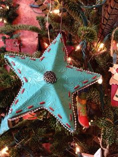 Daytime Christmas tree - The South Dakota Cowgirl turquoise tooled leather star Christmas ornament - Christmas Tree Wreath, Christmas Tree Themes, Diy Christmas Ornaments, Christmas Art, Christmas 2019, Christmas Ideas, Cowboy Christmas, Primitive Christmas, Country Christmas