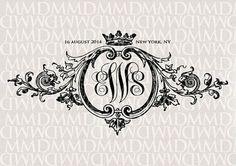 Baroque Ornament & Crown Wedding Monogram Wedding by merrymint