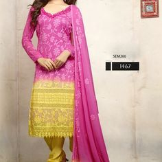 Designer-Pink-And-Yellow-Anarkali-Suit from Bollywood Vogue Saree for $60.00 on Square Market