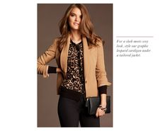Ann Taylor: like the mix of leopard cardigan and blazer.