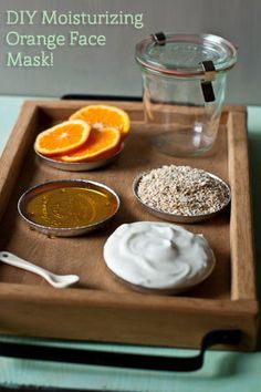 DIY Orange Face Mask - Ingredients: 1/2 cup of steel-cut oatmeal, juice from a whole orange, 3 tablespoons of plain yogurt, 2 tablespoons of honey, 2 teaspoons of dried orange peel. Instructions: Mix all the ingredients together. Make sure it is thick but not too runny so it won't stay on your face. Wash your face and apply mask in an even layer. Leave on for 15-30 minutes and wash off.