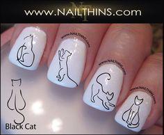 Black Cat Nail Decal Kitty Nail Art Nail Designs NAILTHINS by NAILTHINS on Etsy https://www.etsy.com/listing/156621342/black-cat-nail-decal-kitty-nail-art-nail