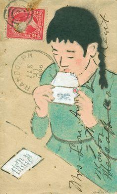 """S.W.A. K ""(nod to Cassatt)  3"" x 5"" Spray Paint, Gouache, Ink, Graphite on Antique Envelope from 1896  sold"
