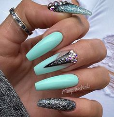 Tiffany blue nails that pop.