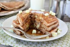Whole Wheat Apple Cinnamon Pancakes with Cinnamon Syrup | Two Peas and Their Pod #recipe