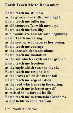Native American Prayer for Today & Everyday ~ Earth Teach Me To Remember ~ Respect Mother Earth ☆♡☆ Native American Prayers, Native American Spirituality, Native American Wisdom, American Indians, American History, Native American Zodiac Signs, Native American Cherokee, Native American Crafts, American Symbols