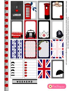 Free Printable London Stickers for Happy Planner Page 1