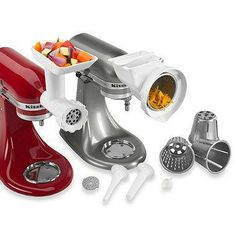 Use the full potential of your KitchenAid® Stand Mixer with this versatile attachment pack. Includes food grinder, rotor slicer/shredder, and sausage stuffer kit. Easy to use and install on the attachment hub of stand mixer.