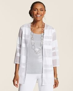 Chico's Travelers Collection Ribbon Mesh Jacket #chicos