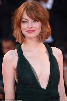 Chop to it! The actress wore her hair out in a wavy bob with a dramatic side part...