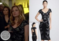 Dr. Maura Isles (Sasha Alexander) wore this bonded jacquard knit sheath dress with dainty scalloped trim and cutout back in an episode of Rizzoli and Isles.