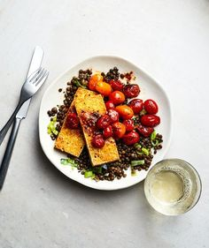 Tofu Halloumi With Lentils and Burst Tomatoes