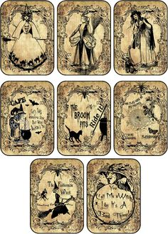 Halloween 8 Witches Labels Stickers Scrapbooking Party Decoration   eBay