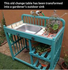 of the BEST Upcycled Furniture Ideas! Turn an Old Changing Table into a Out. - of the BEST Upcycled Furniture Ideas! Turn an Old Changing Table into a Outdoor Potting Bench. Outdoor Potting Bench, Potting Tables, Potting Bench With Sink, Outdoor Bar Cart, Furniture Projects, Garden Furniture, Outdoor Furniture Sets, Upcycled Furniture, Refurbished Furniture