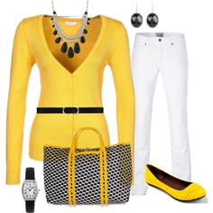 """Yellow And Black"" by lellett on Polyvore"