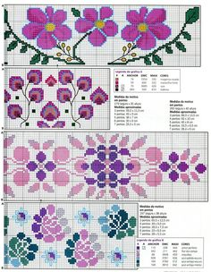 Cross Stitch Borders, Cross Stitch Flowers, Cross Stitch Patterns, Craft Projects, Projects To Try, Crochet, Needlework, Bullet Journal, Quilts