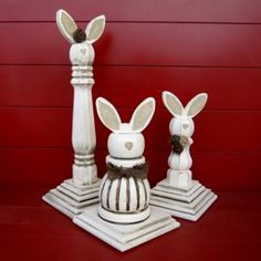 Wood Finial Easter Bunnies {Crafting}Turn wood pieces from your local home improvement store into these unique wooden Easter decorations. These bunnies will have everyone talking.View This Tutorial