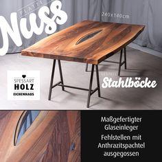Attraktiv Esstisch In Nussbaum. Fehlstellen Mit Anthrazitspachtel Ausgegossen.  Gestell Aus Stahlböcken