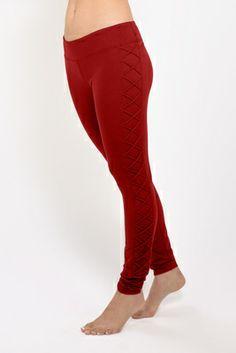 a55073d956 Dark Romance Lace Up Yoga Legging (Burnt Red) Mesh Yoga Leggings