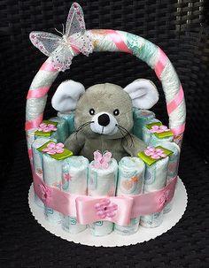 Windeltorte, Korb rosa, Geburt, Taufe, Geschenk für Mädchen, Baby Party, Pampers