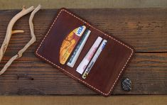 Leather Card Wallet Card Holder Leather Wallet by Leather Card Wallet, Coin Wallet, Pocket Wallet, Coin Card, Leather Working, Italian Leather, Leather Craft, Watch Bands, Card Holder