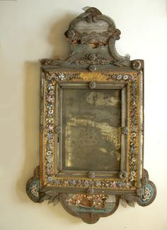 venetian mirror end of 19.th century (things sometimes look better before they've been restored)