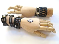 """Luxury Urban Chic  - empowering fashion - laser cut leather cuffs with crystal embellishment. """"Dare to Wear"""" Collection 2015"""