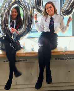 Girls Dressed In Formal School Uniforms