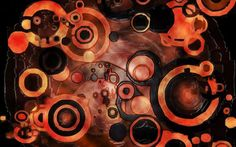 Abstract dark orange circles wallpaper background