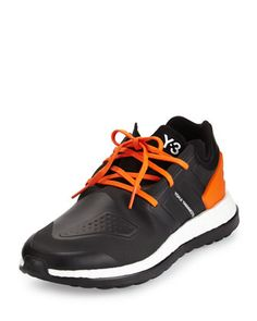 meet da68b d26f4 Y-3 Pure Boost Leather Sneaker, Black Orange