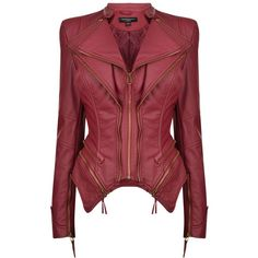 Forever Unique Pulp Leatherette Jacket ($115) ❤ liked on Polyvore featuring outerwear, jackets, red, pu leather jacket, red zip jacket, red peplum jacket, zip jacket and zipper jacket