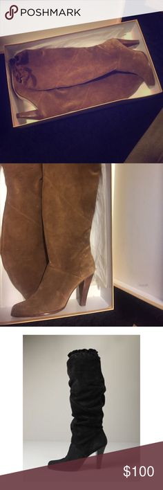 Micheal Kors suede tall boot in tobacco Micheal Kors real suede tall boot in tobacco.. Comes with original box and stuffing. Boot can be worn tall or worn slouchy and height can be adjusted to your desired height Michael Kors Shoes Heeled Boots