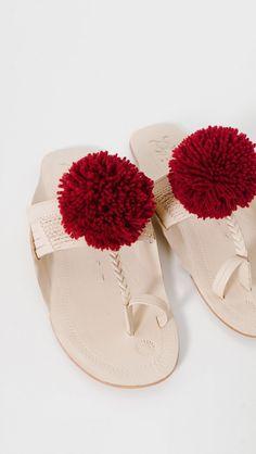 Figue Leo Pom Pom Sandals in Pomegranate