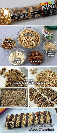 peanut butter dark chocolate kind bar copycat from theyummylifecom Healthy Bars, Healthy Sweets, Healthy Snacks, Homemade Kind Bars, Homemade Butter, Snack Recipes, Cooking Recipes, Keto Cookies, Granola Bars