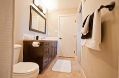 Spacious Bathroom On the Park Cozy Bathroom, Custom Builders, Custom Homes, Bathrooms, Cabinet, Park, Storage, Furniture, Home Decor