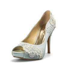 Something Blue Wedding Shoes with Lace Powder by ChristyNgShoes